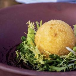 Crispy Hens Egg with Cepe Mushroom Salad & Malt Vinegar Caramel